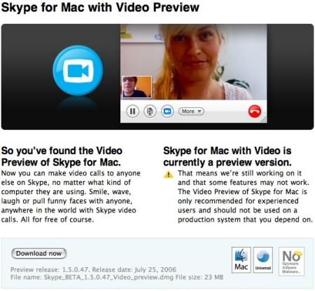Skype Video pour Mac ... c'est parti !
