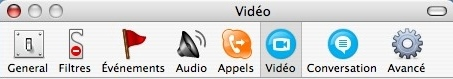 le menu Skype 1.5 pour Mac