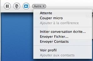 Le menu Skype 1.5