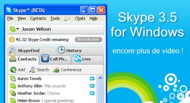 encore plus de vidéo avec Skype 3.5