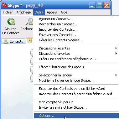 Options de Skype